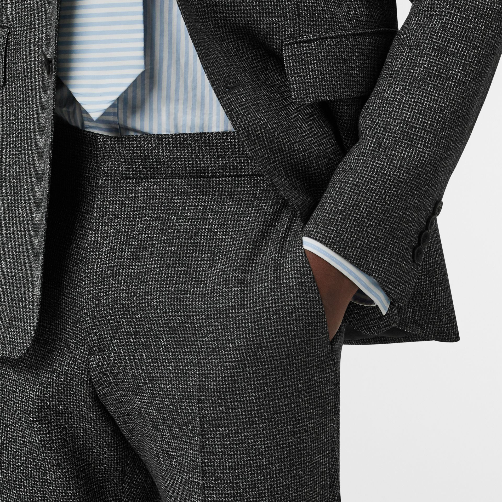 English Fit Puppytooth Check Wool Suit in Charcoal Melange - Men | Burberry - gallery image 3