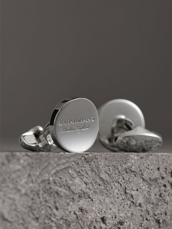 Engraved Motif Round Cufflinks in Silver - Men | Burberry - cell image 1