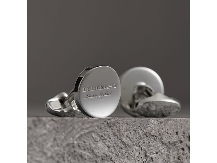 Engraved Motif Round Cufflinks in Silver - Men | Burberry Australia - cell image 1