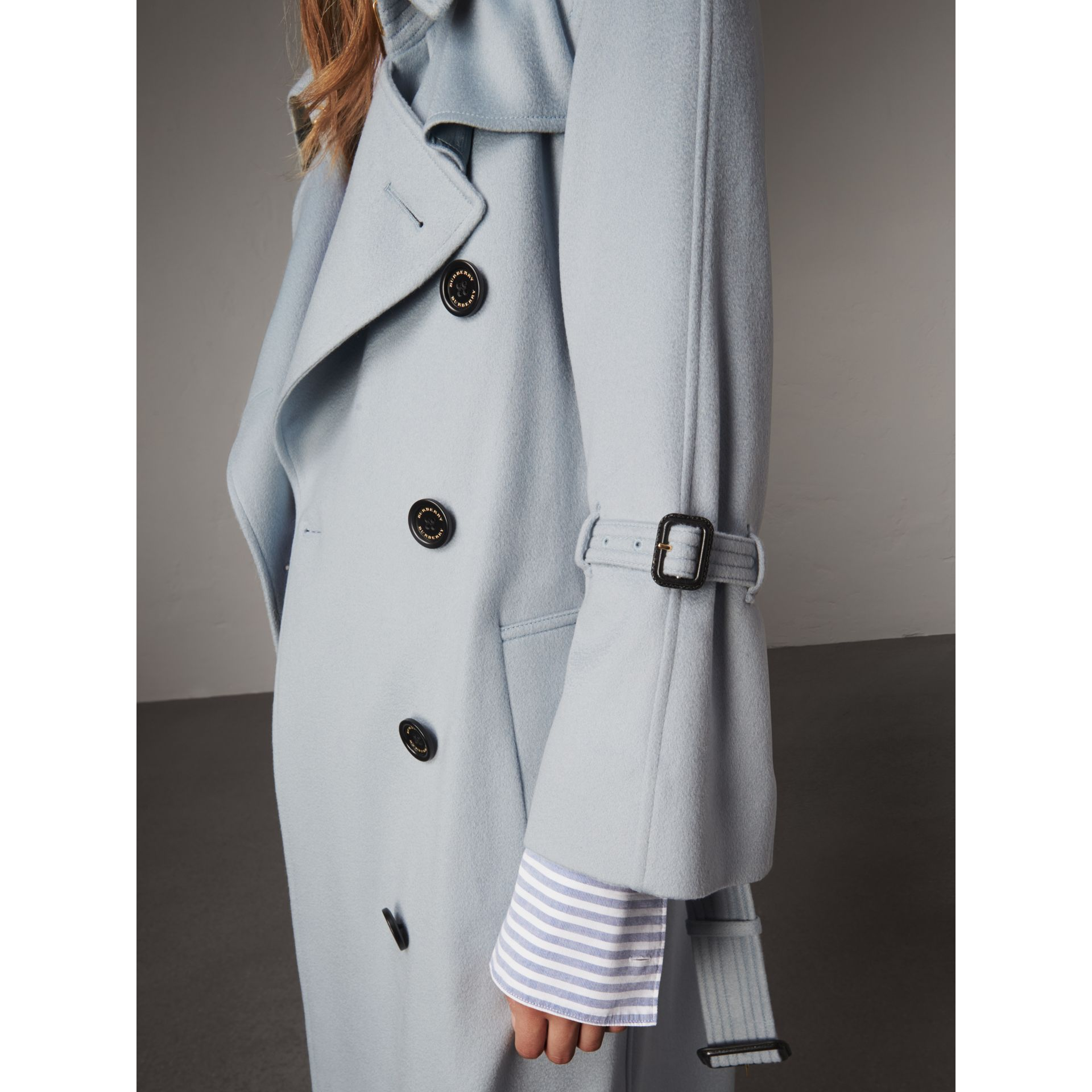 Ruffled Storm Shield Cashmere Trench Coat in Mineral Blue - Women | Burberry Australia - gallery image 5