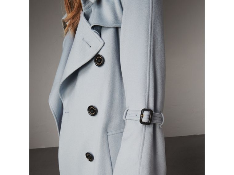 Ruffled Storm Shield Cashmere Trench Coat in Mineral Blue - Women | Burberry - cell image 4