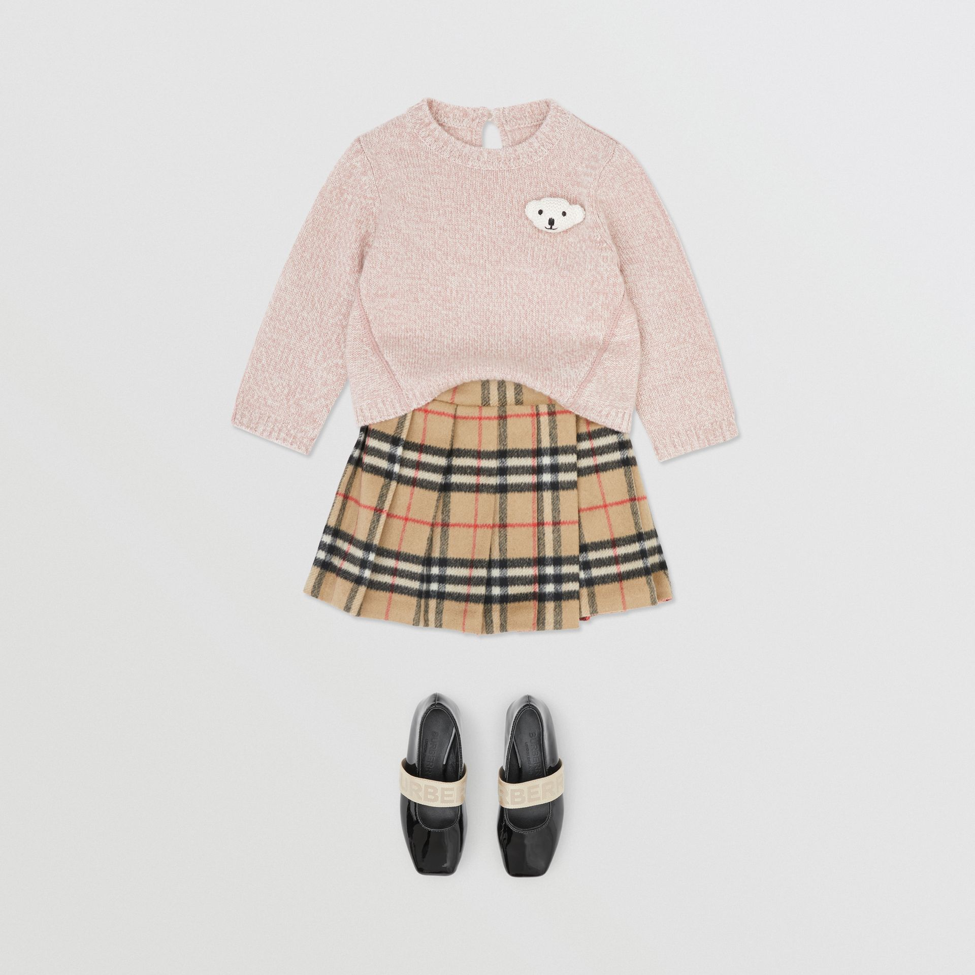 Thomas Bear Detail Wool Cashmere Sweater in Light Pink - Children | Burberry - gallery image 4