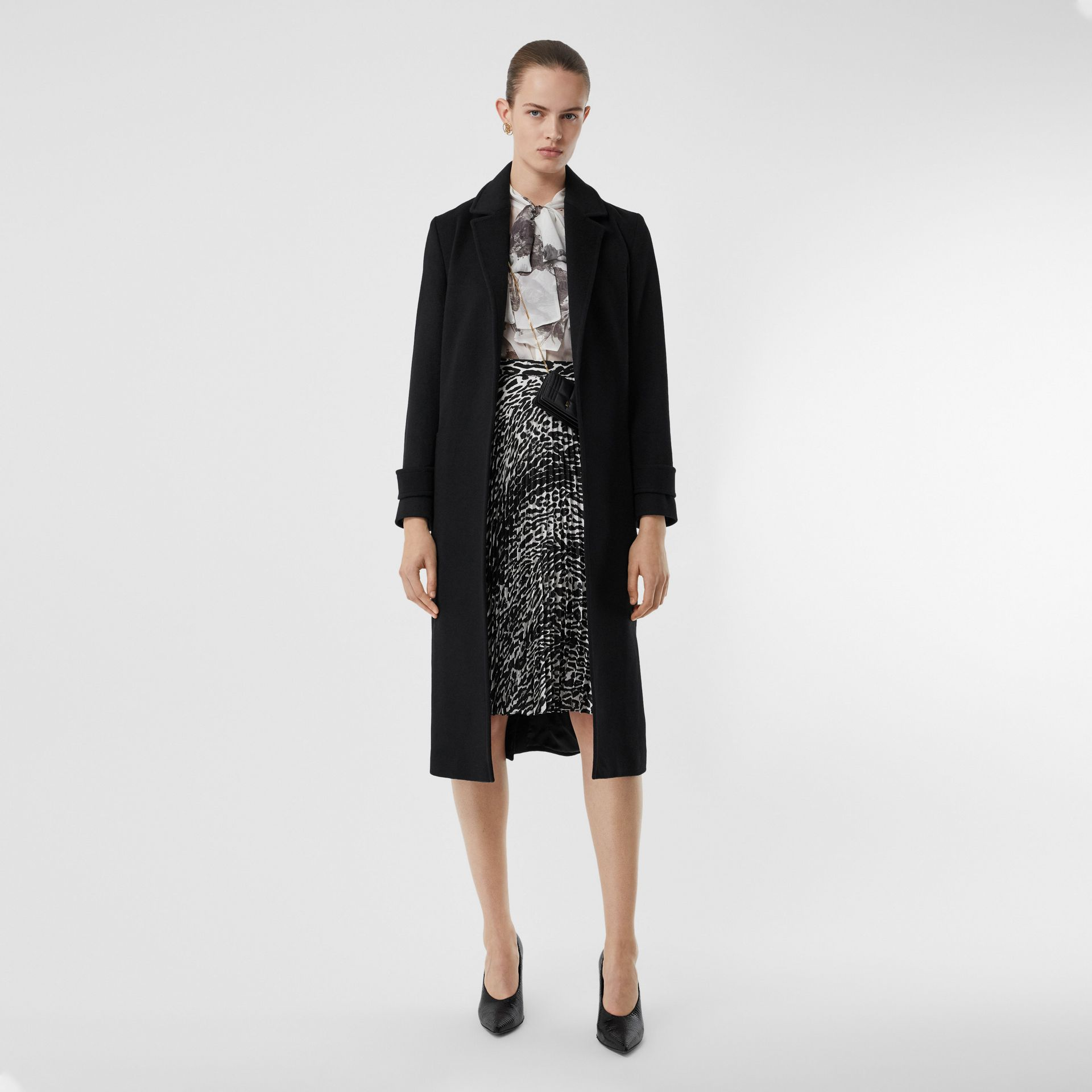 Cashmere Wrap Coat in Black - Women | Burberry - gallery image 0