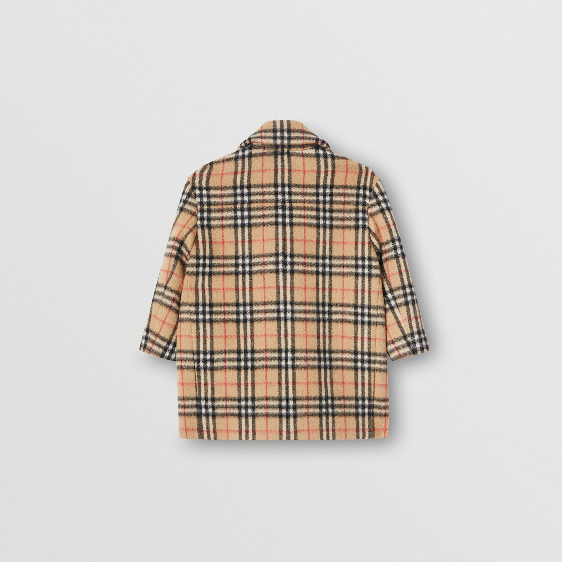 Vintage Check Alpaca Wool Blend Pea Coat in Archive Beige | Burberry - gallery image 3