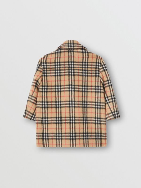 Vintage Check Alpaca Wool Blend Pea Coat in Archive Beige | Burberry - cell image 3