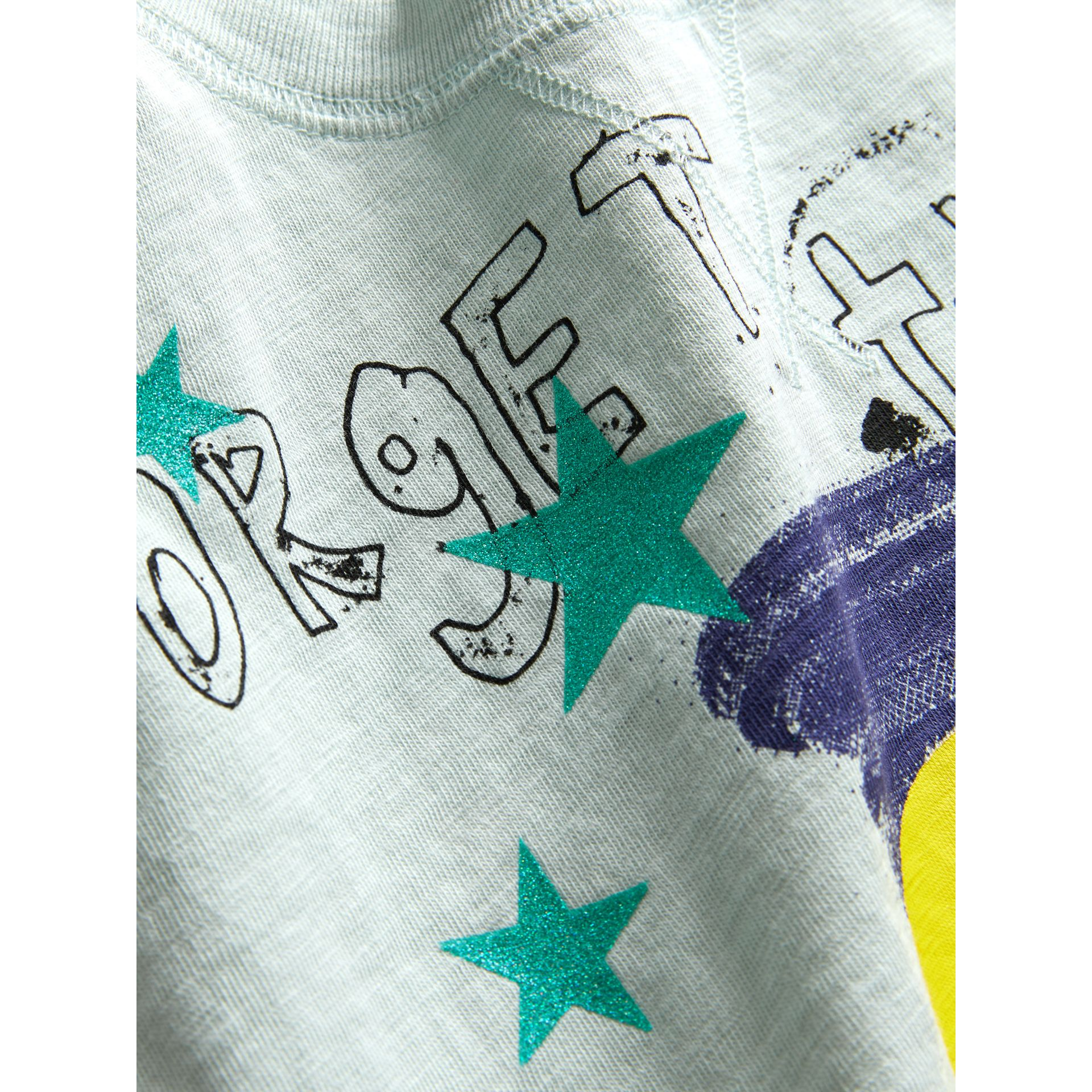 Smiley Face Print Cropped T-shirt in Pale Mint - Girl | Burberry - gallery image 1