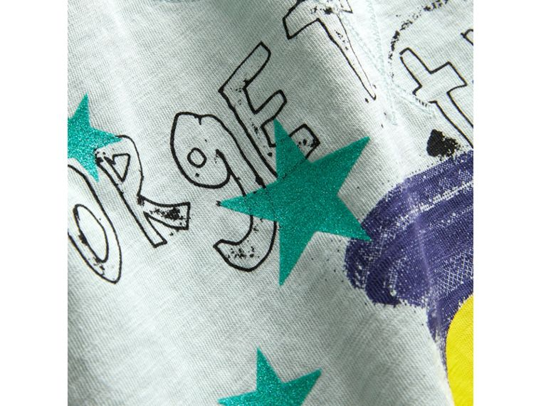 Smiley Face Print Cropped T-shirt in Pale Mint - Girl | Burberry Hong Kong - cell image 1