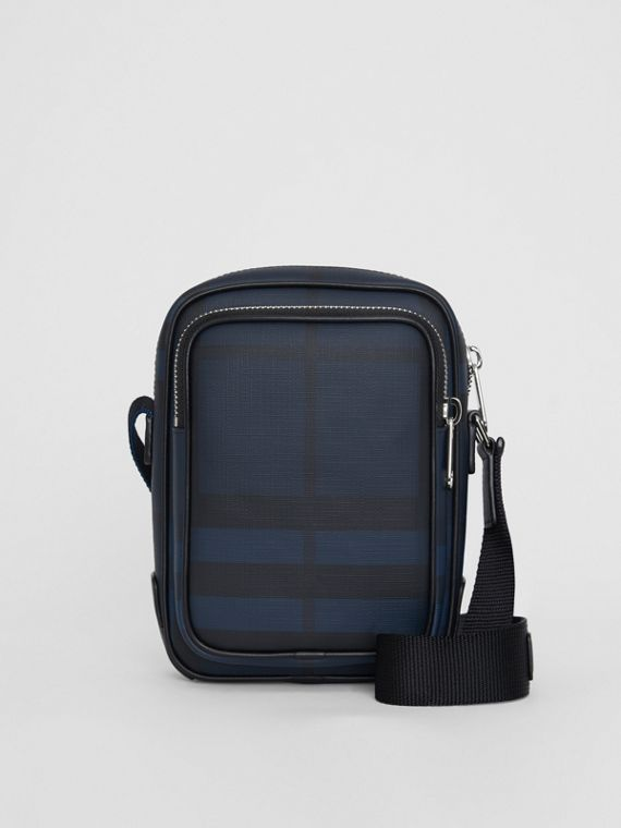 Small London Check Crossbody Bag in Navy/black