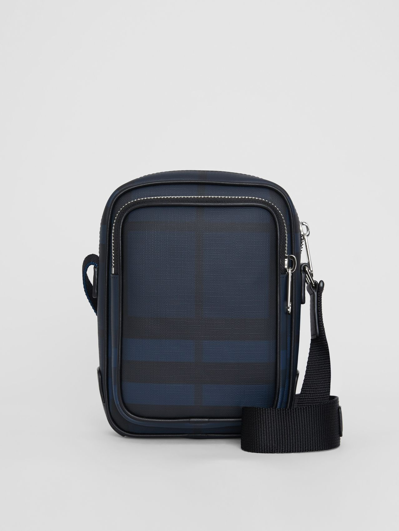 Small London Check Crossbody Bag (Navy/black)