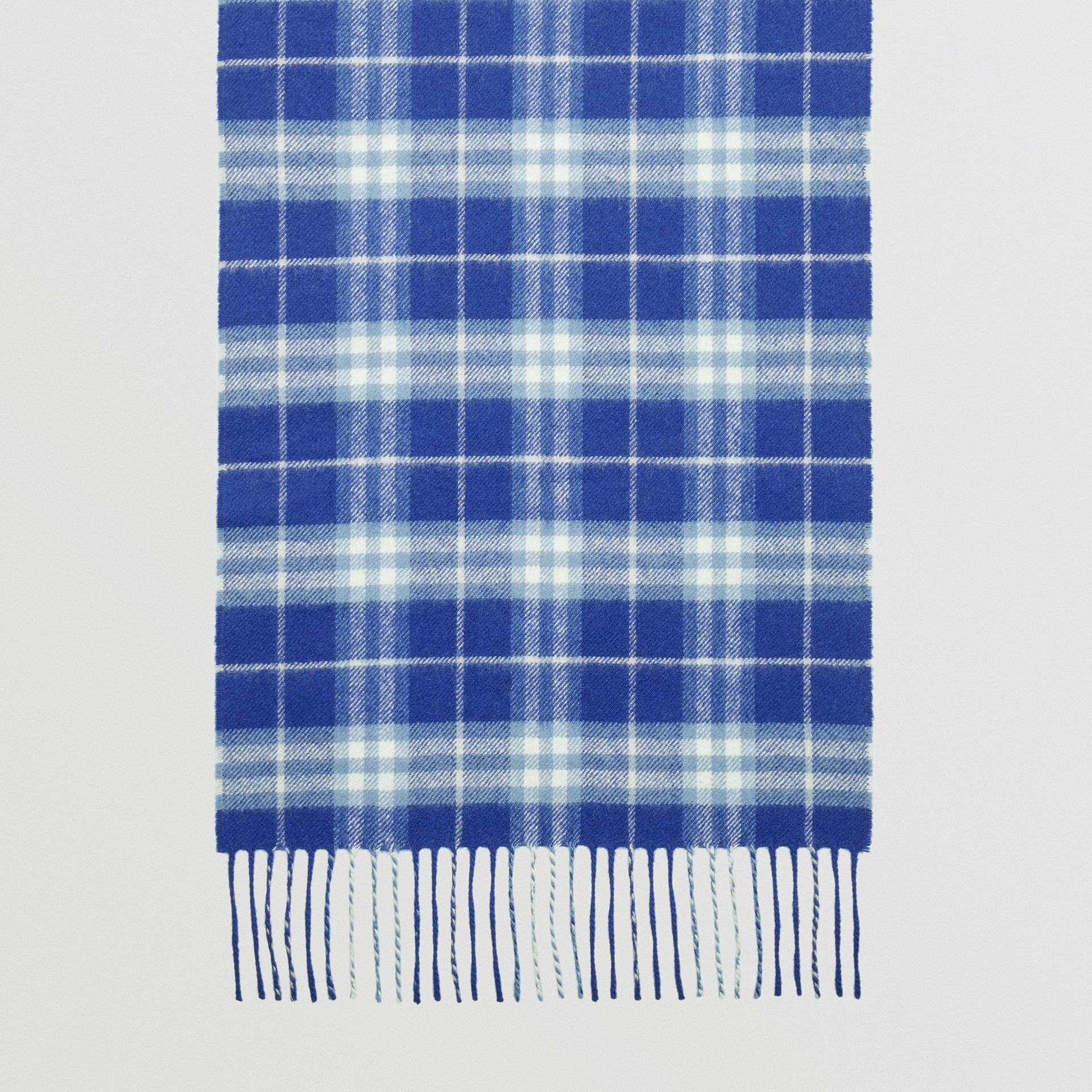 The Classic Vintage Check Cashmere Scarf in Bright Lapis | Burberry United States - gallery image 4