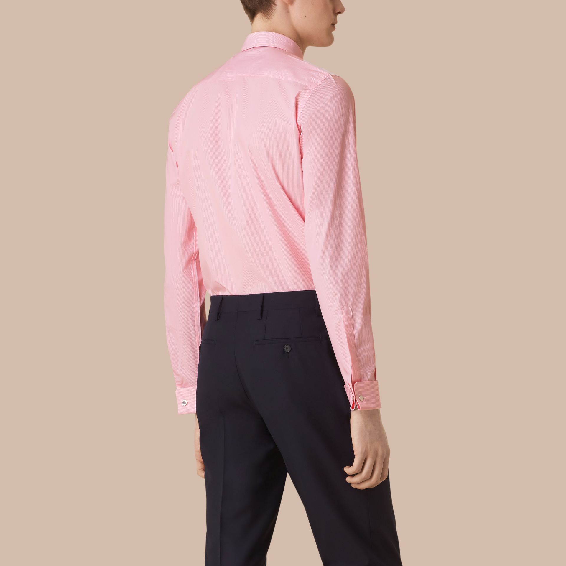 Slim Fit Double-cuff Striped Cotton Poplin Shirt in City Pink - gallery image 3