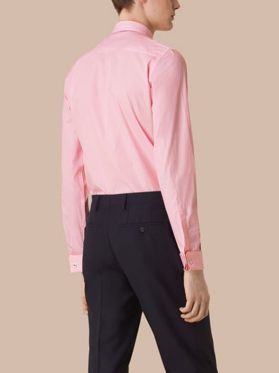 Slim Fit Double-cuff Striped Cotton Poplin Shirt in City Pink - cell image 2
