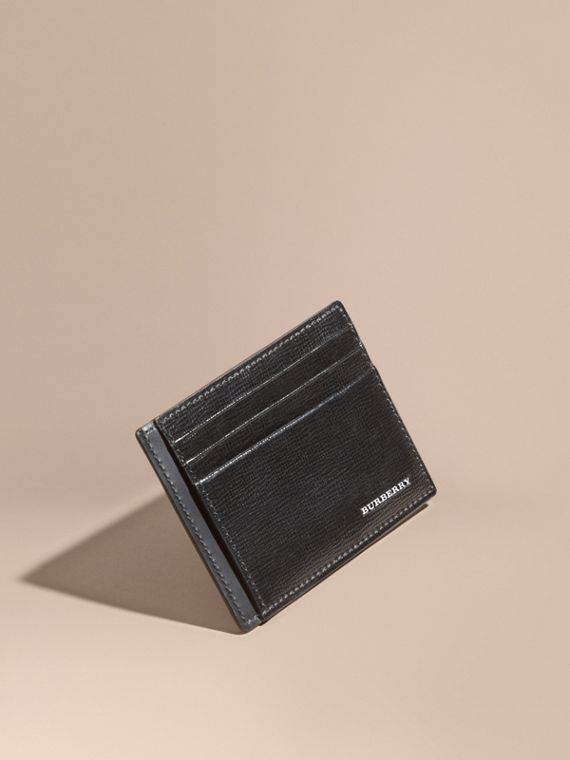 London Leather Card Case in Black | Burberry
