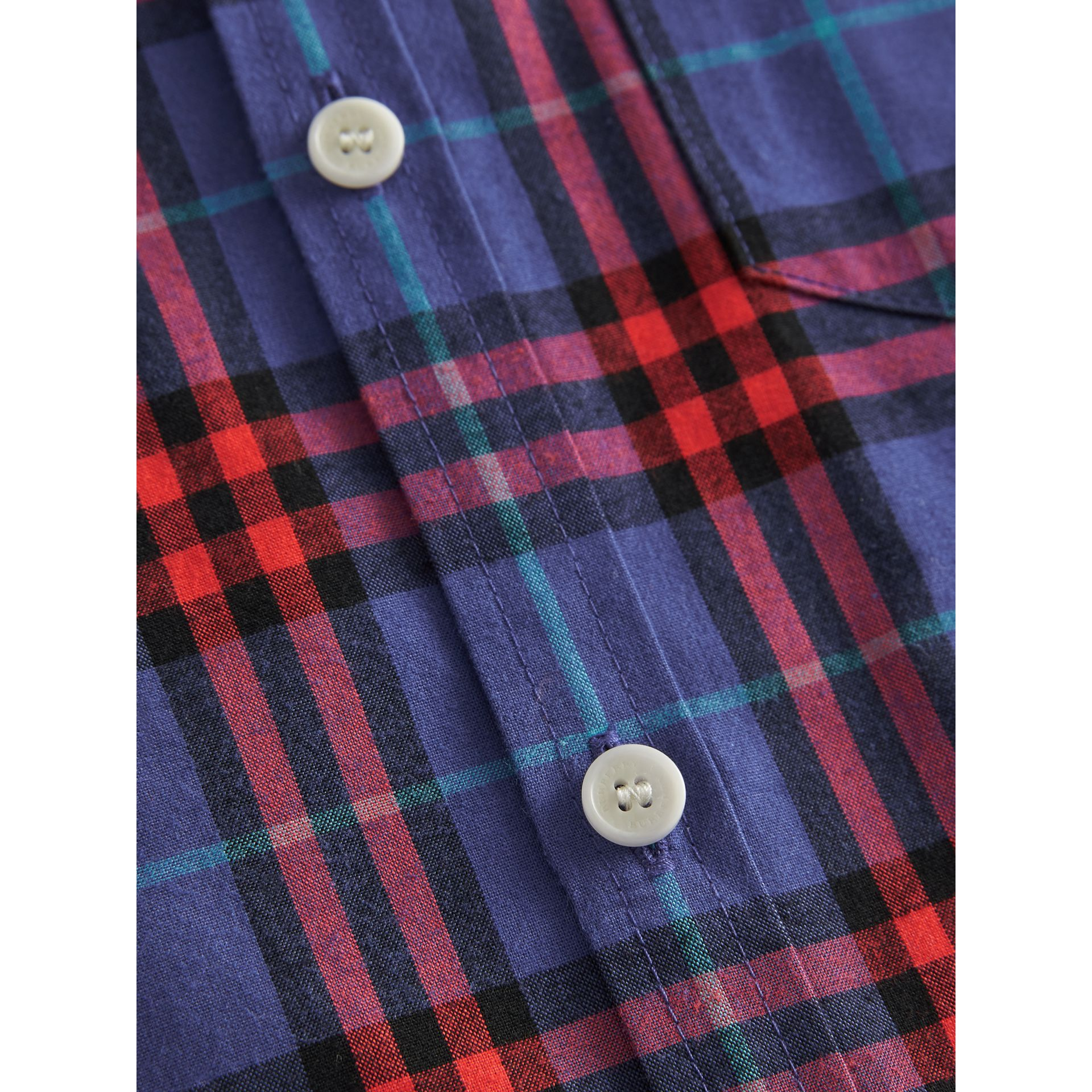 Button-down Collar Check Flannel Shirt in Sapphire Blue | Burberry Canada - gallery image 1