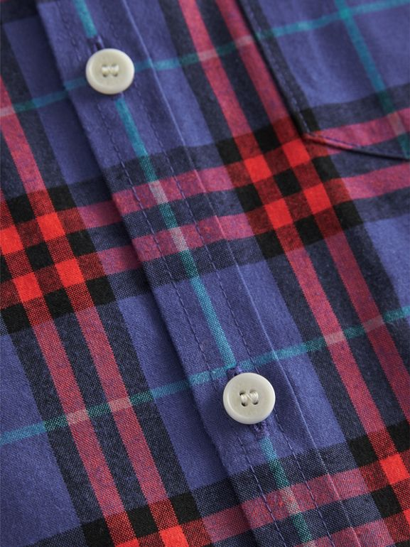 Button-down Collar Check Flannel Shirt in Sapphire Blue | Burberry - cell image 1