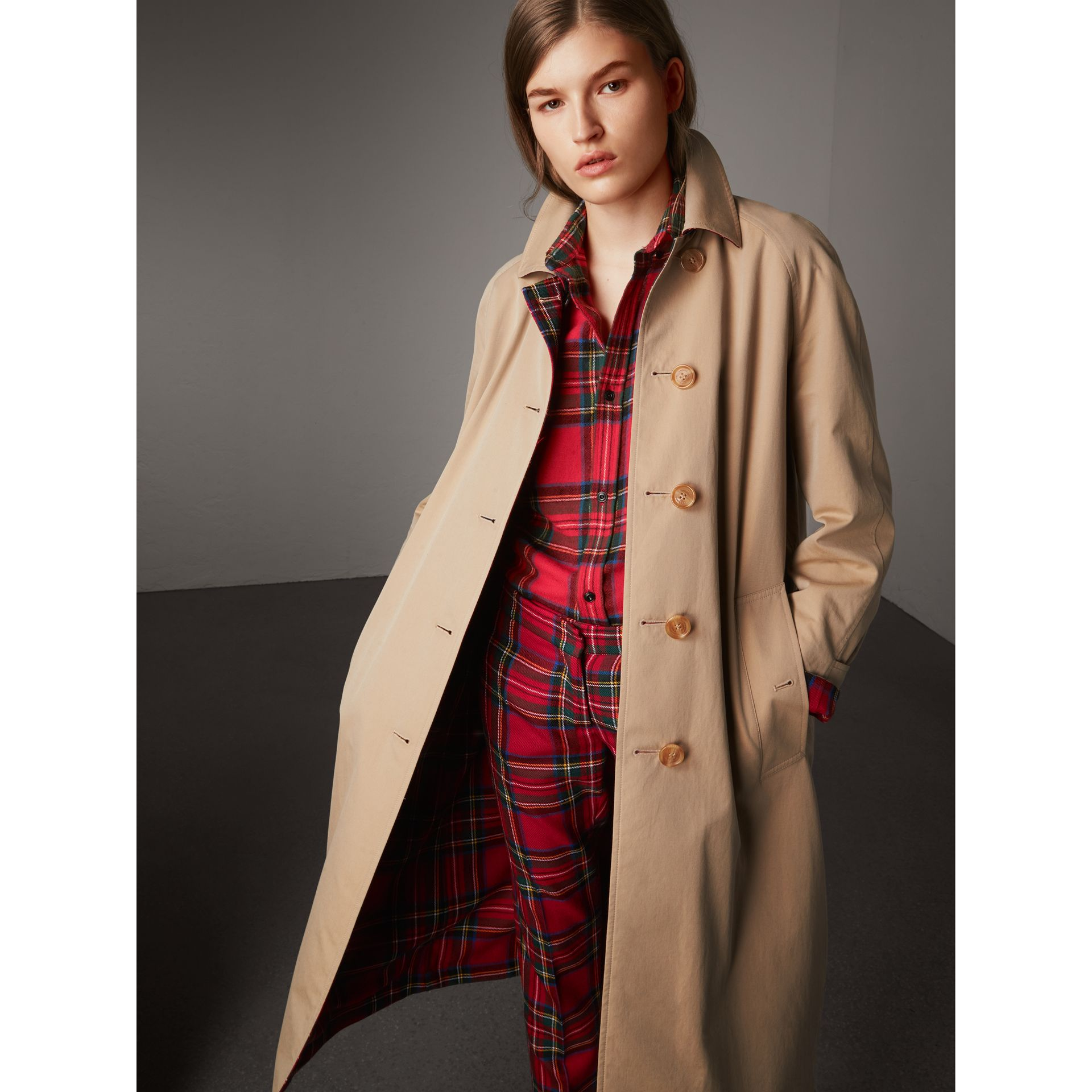 Reversible Gabardine and Tartan Wool Car Coat in Honey - Women | Burberry - gallery image 6