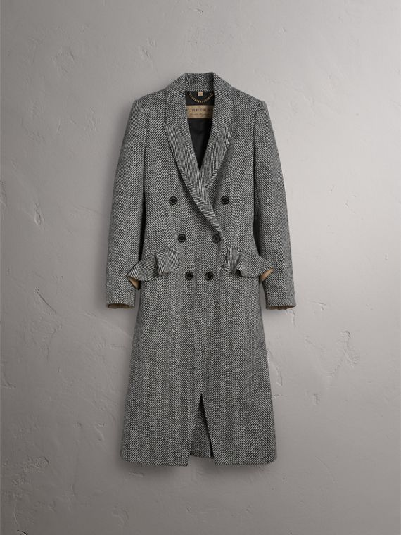 Donegal Herringbone Wool Tweed Tailored Coat in Black - Women | Burberry - cell image 3