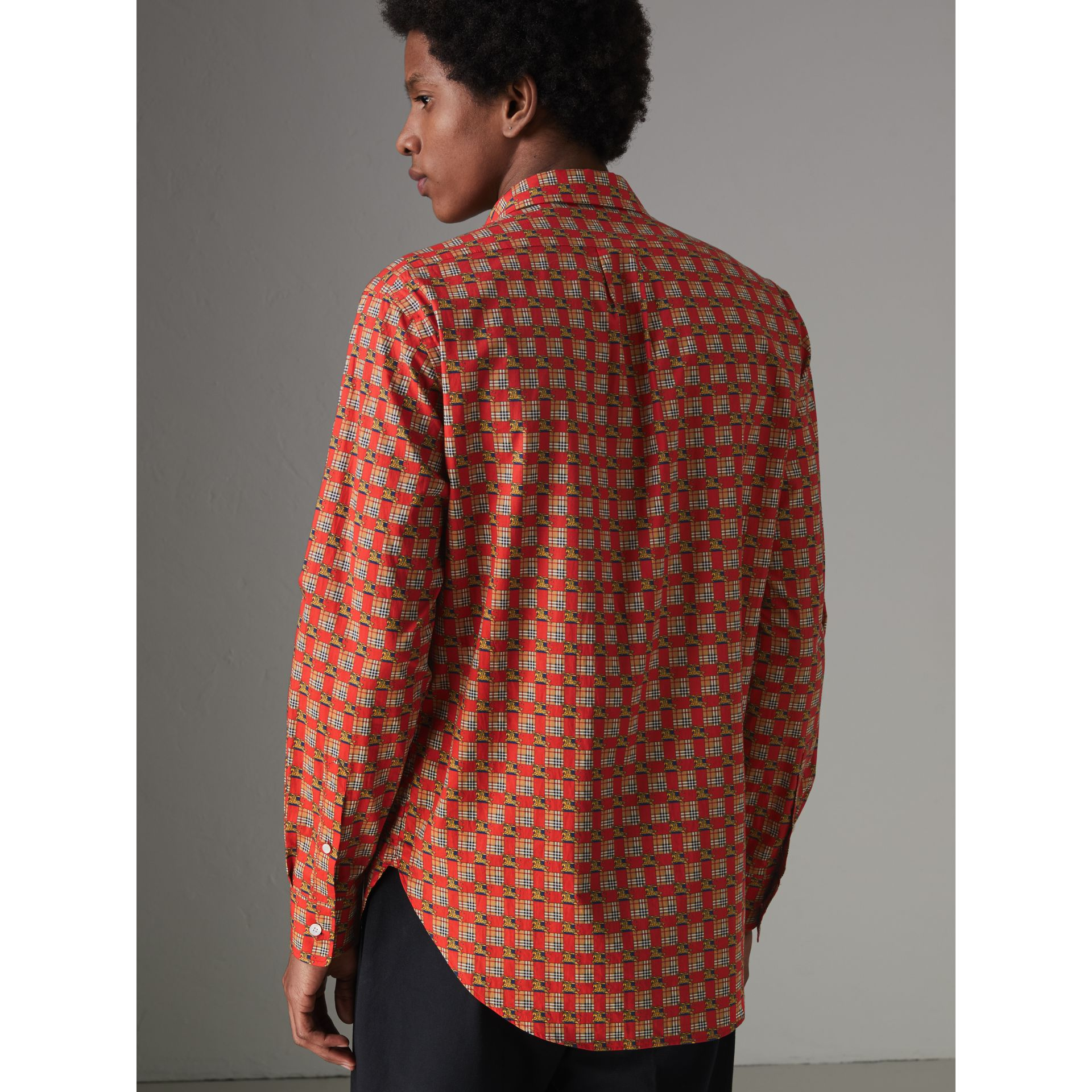 Tiled Archive Print Cotton Shirt in Bright Red - Men | Burberry - gallery image 2