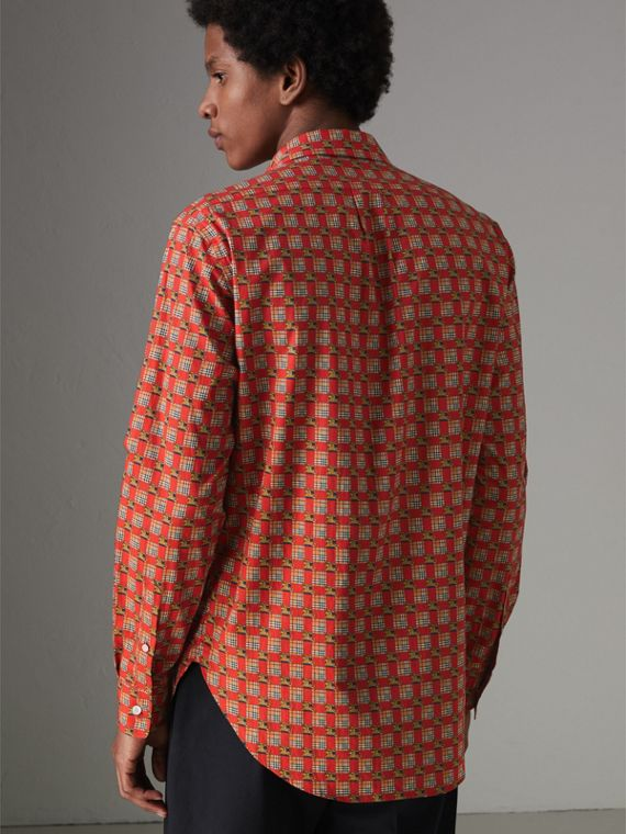 Tiled Archive Print Cotton Shirt in Bright Red - Men | Burberry Canada - cell image 2