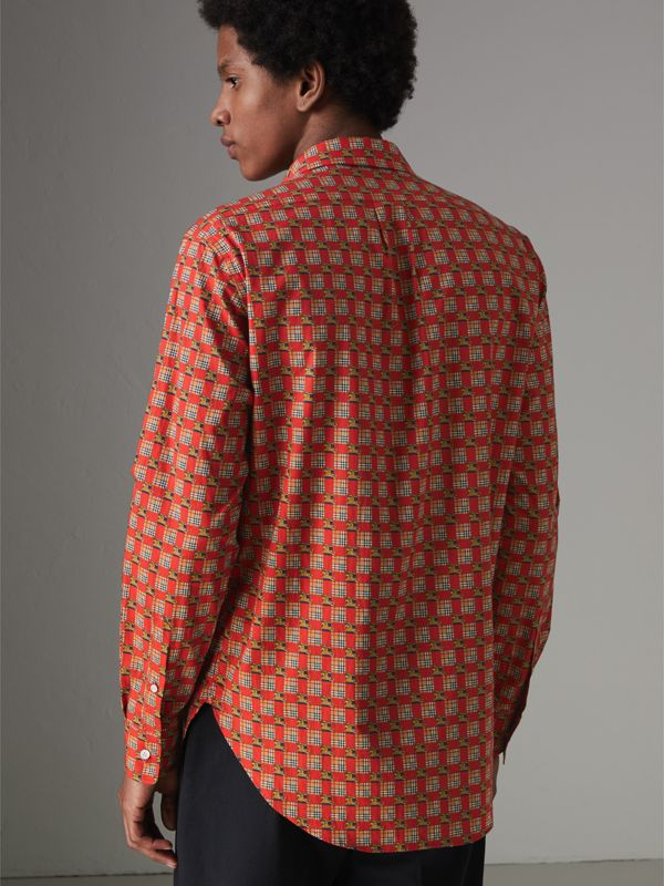 Tiled Archive Print Cotton Shirt in Bright Red - Men | Burberry - cell image 2