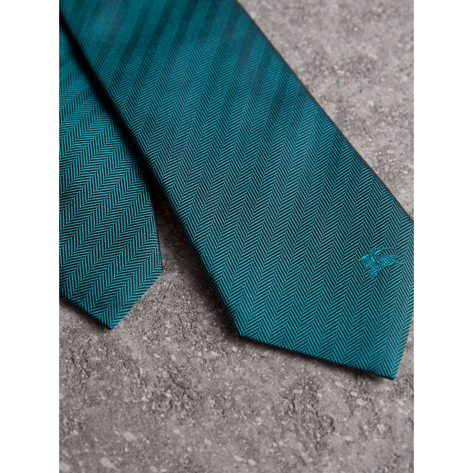 Modern Cut Silk Tie in Mineral Blue - Men | Burberry - gallery image 1