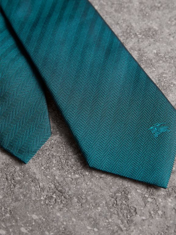 Modern Cut Silk Tie in Mineral Blue - Men | Burberry - cell image 1