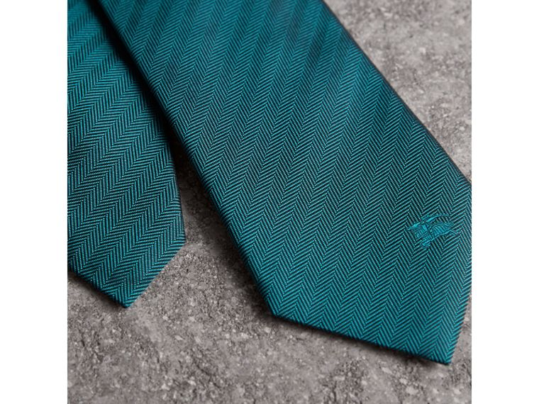 Modern Cut Silk Tie in Mineral Blue - Men | Burberry United States - cell image 1