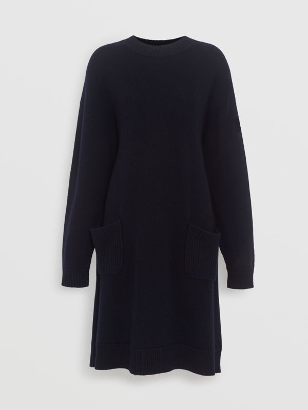 Cashmere Sweater Dress in Navy - Women | Burberry Australia - cell image 3