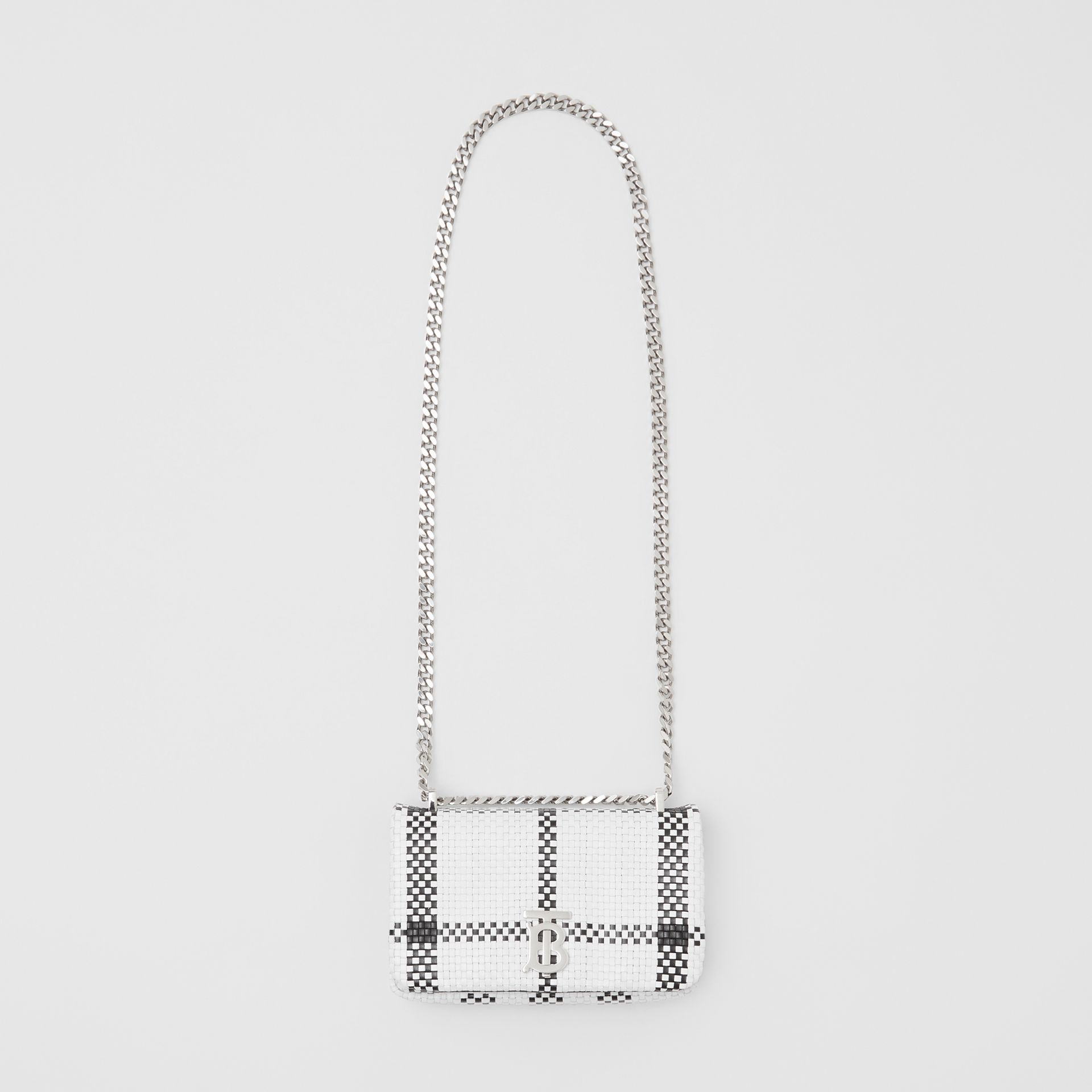 Mini Latticed Leather Lola Bag in Black/white - Women | Burberry - gallery image 3