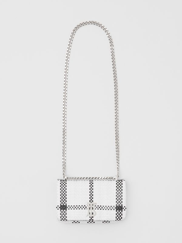 Mini Latticed Leather Lola Bag in Black/white - Women | Burberry - cell image 3