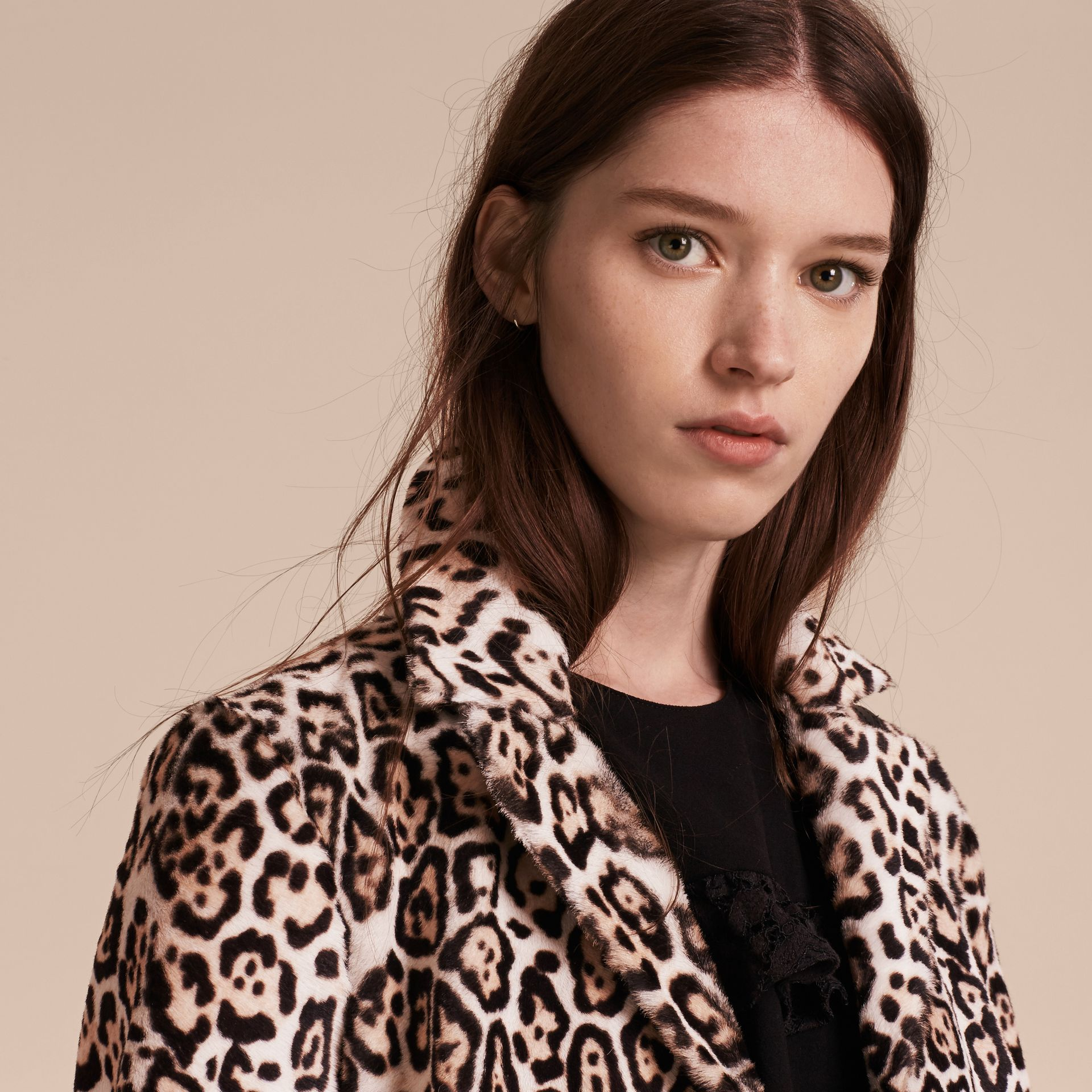 Camel Leopard Print Shearling Coat - gallery image 5