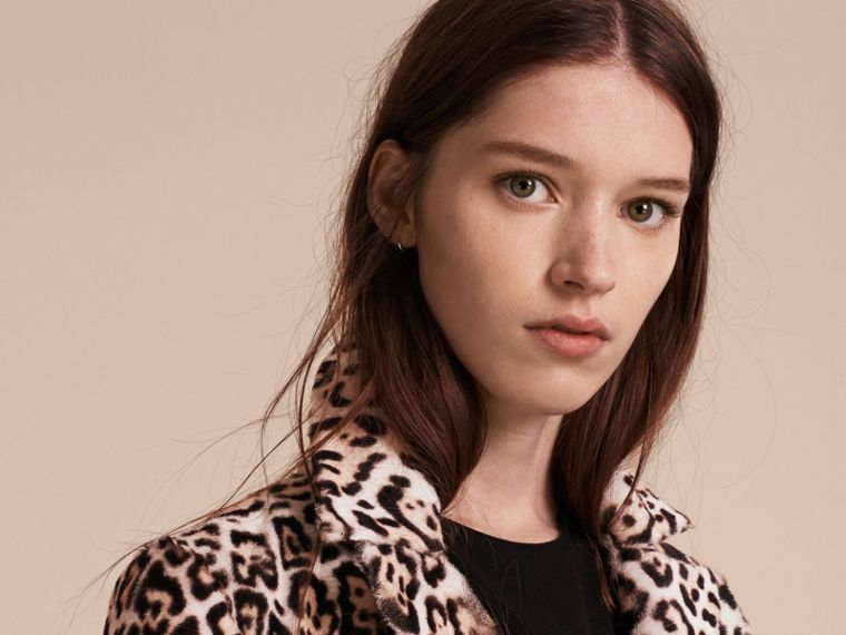 Camel Leopard Print Shearling Coat - cell image 4