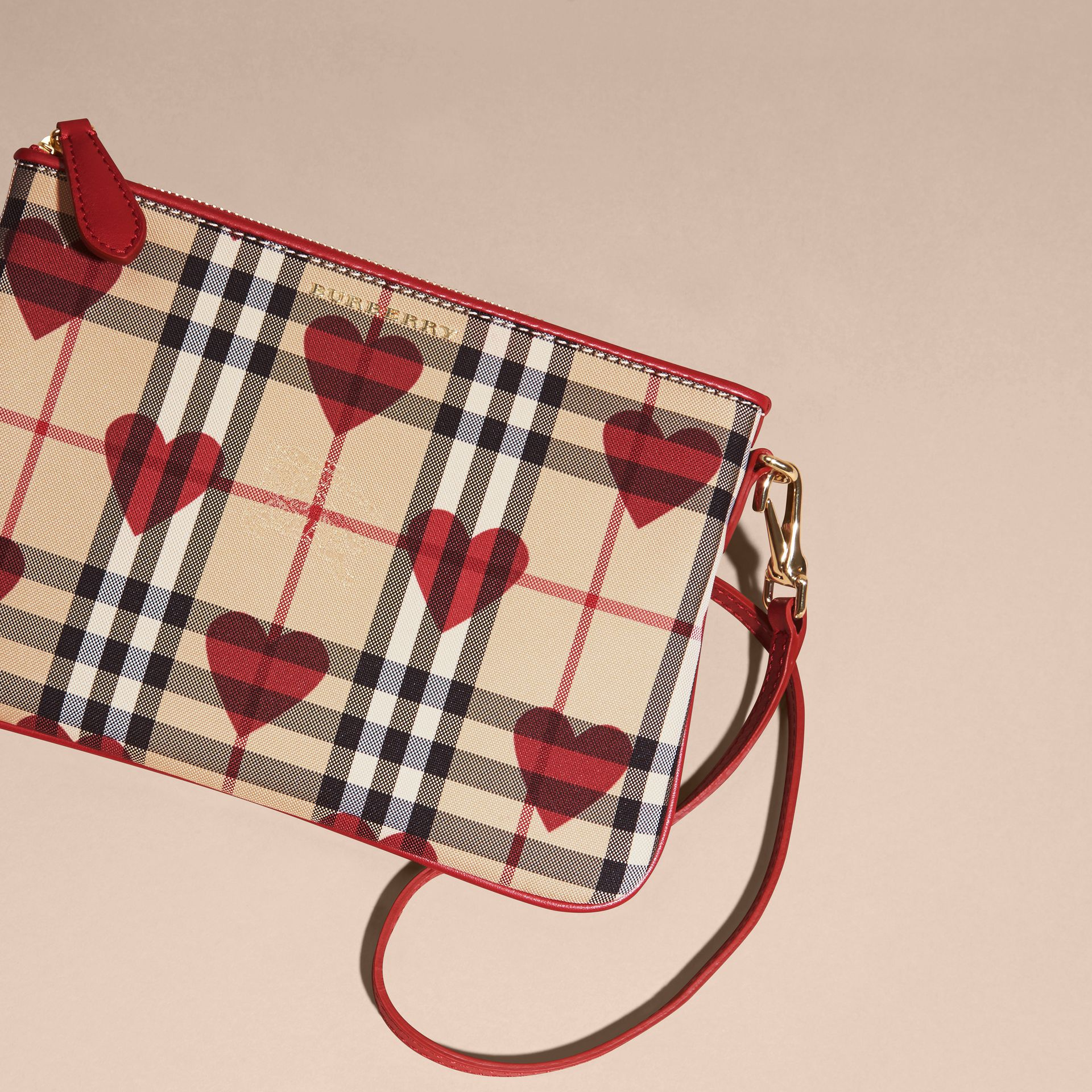 Parade red Heart Print Check and Leather Clutch Bag Parade Red - gallery image 8