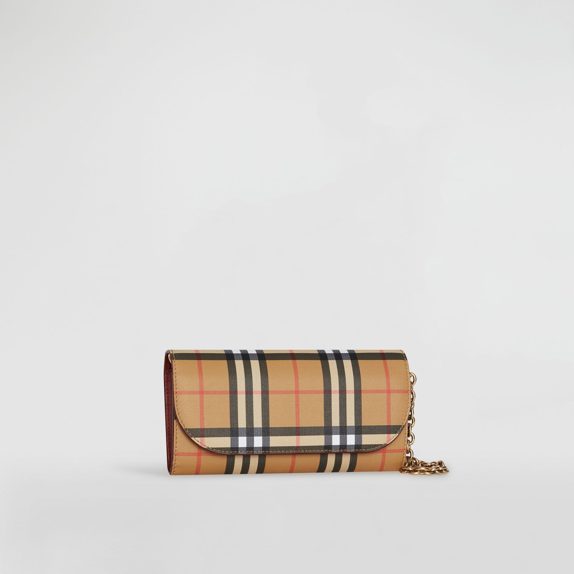 Vintage Check and Leather Wallet with Detachable Strap in Crimson - Women | Burberry Australia - gallery image 4