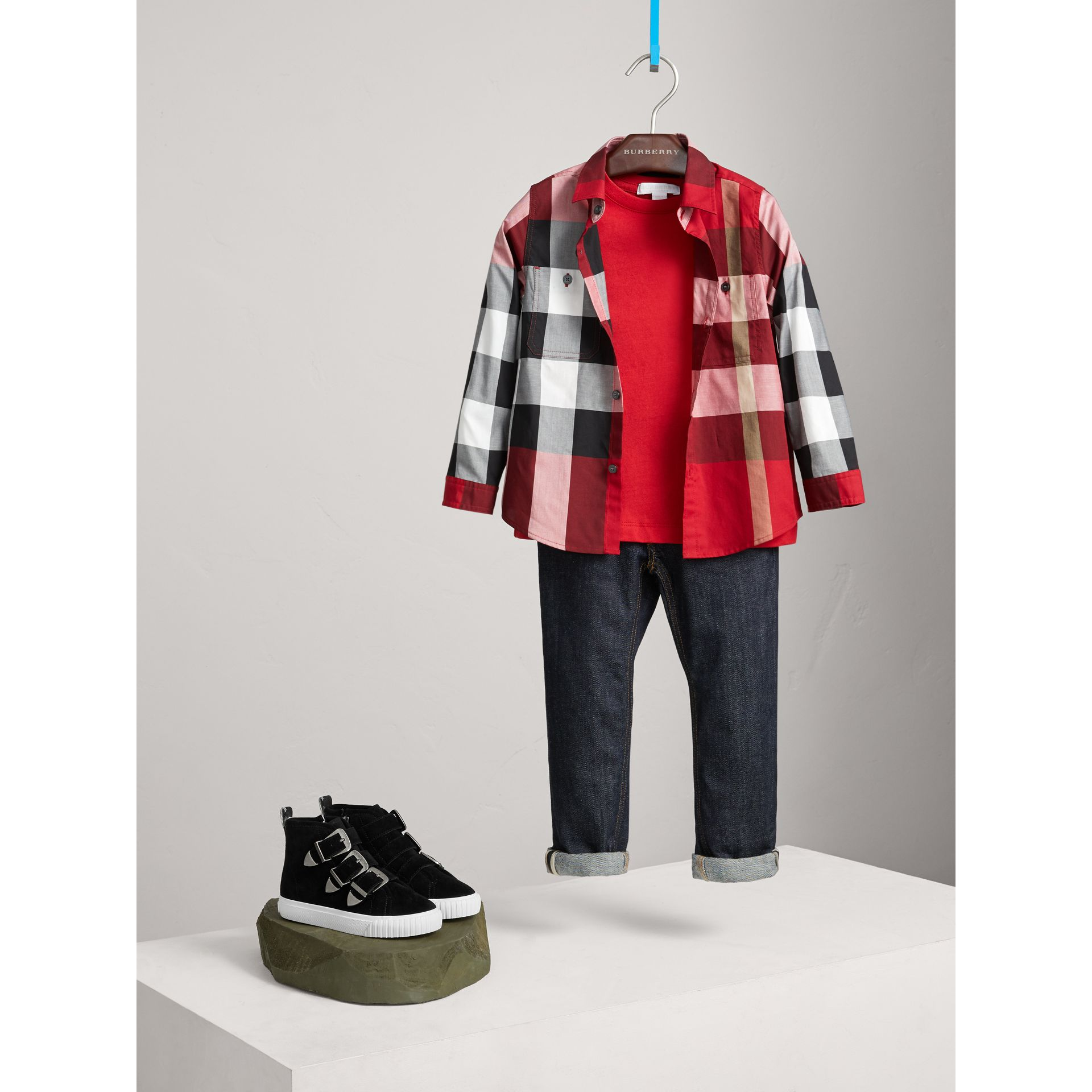 Check Cotton Shirt in Parade Red - Boy | Burberry Singapore - gallery image 1
