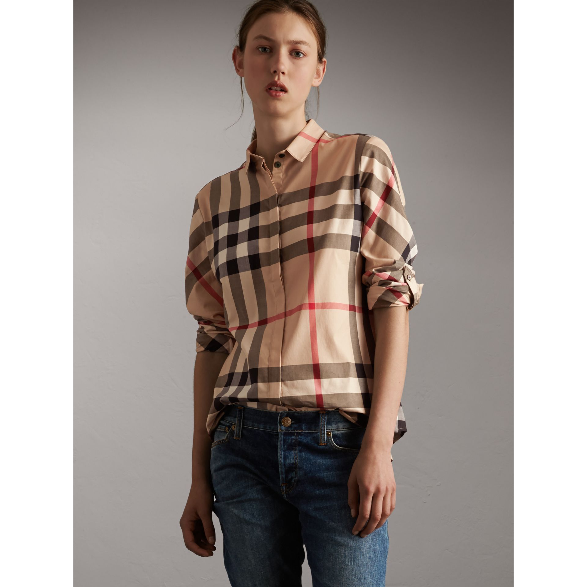 Stretch-Cotton Check Shirt - Women | Burberry - gallery image 1
