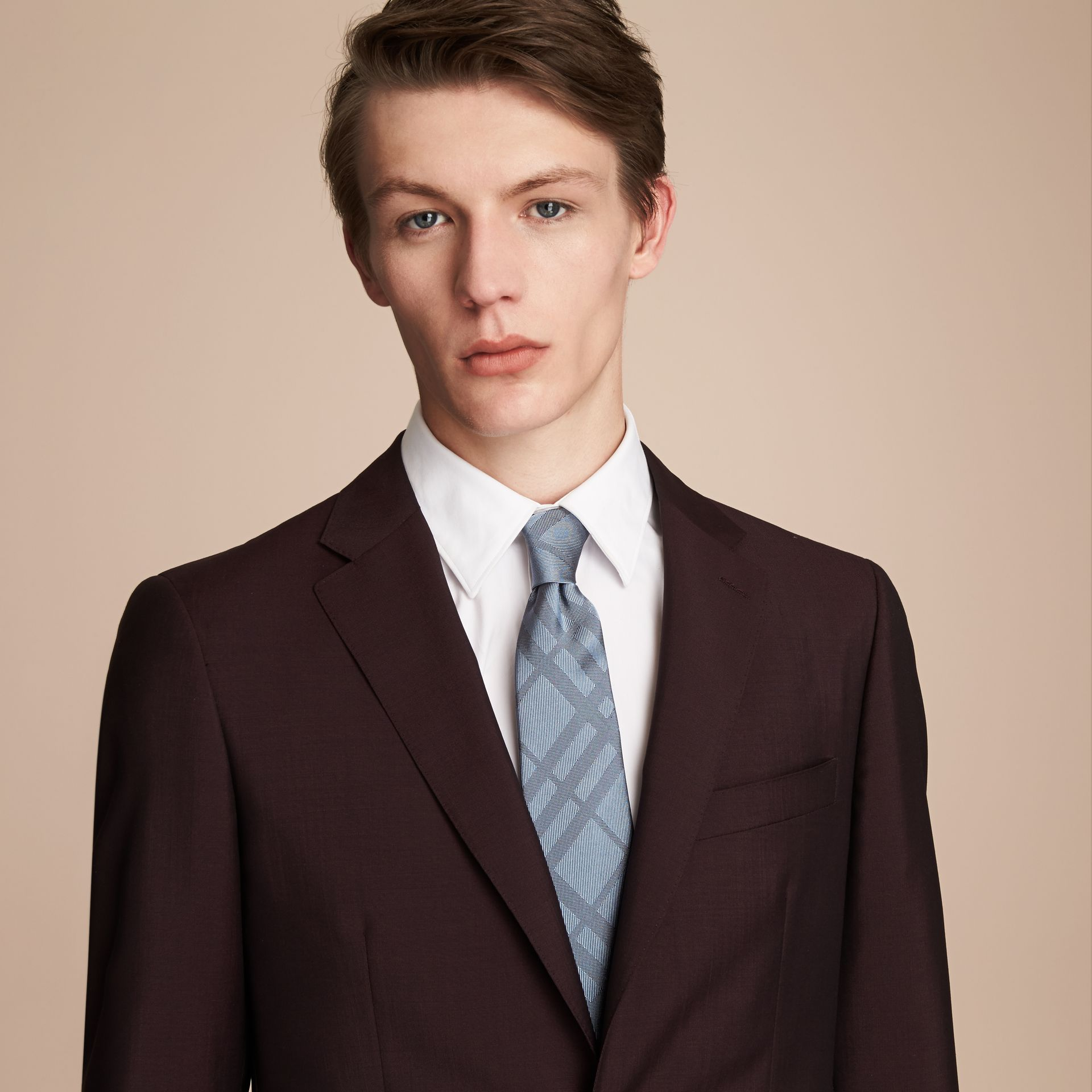 Classic Cut Check Silk Jacquard Tie in Light Blue - Men | Burberry - gallery image 3