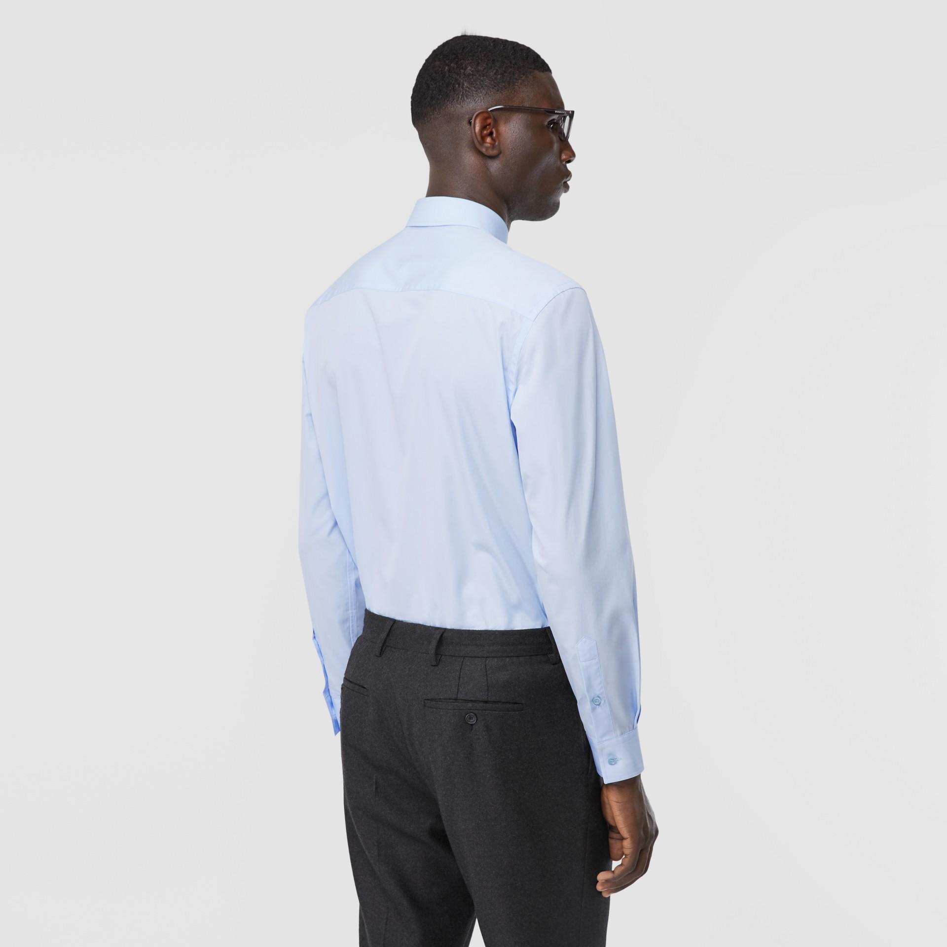 Classic Fit Monogram Motif Cotton Poplin Shirt in Pale Blue - Men | Burberry Singapore - gallery image 2