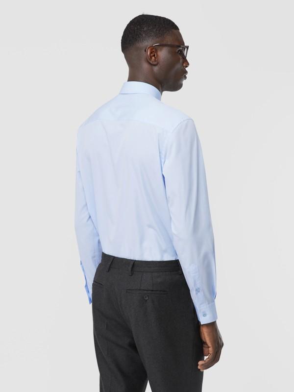 Classic Fit Monogram Motif Cotton Poplin Shirt in Pale Blue - Men | Burberry Singapore - cell image 2