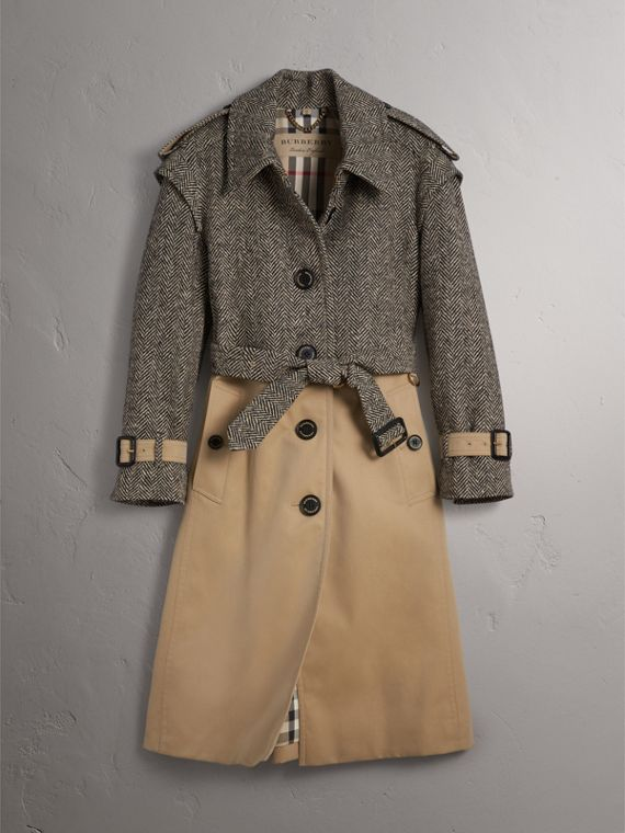 Donegal Tweed and Cotton Gabardine Trench Coat - Women | Burberry - cell image 3