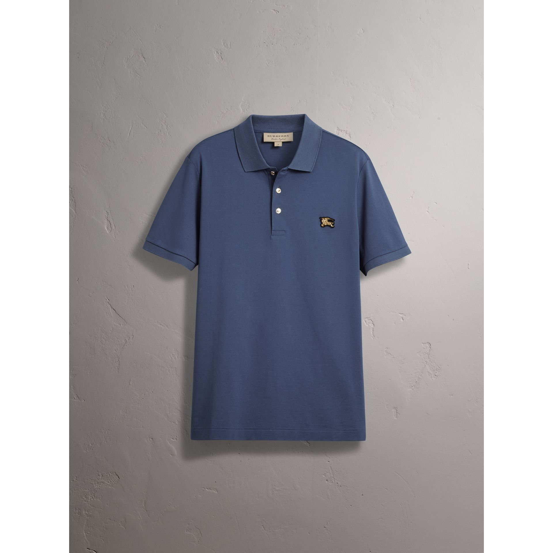 Cotton Piqué Polo Shirt in Steel Blue - Men | Burberry - gallery image 4