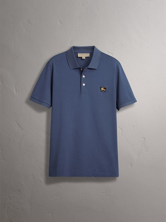 Cotton Piqué Polo Shirt in Steel Blue - Men | Burberry - cell image 3