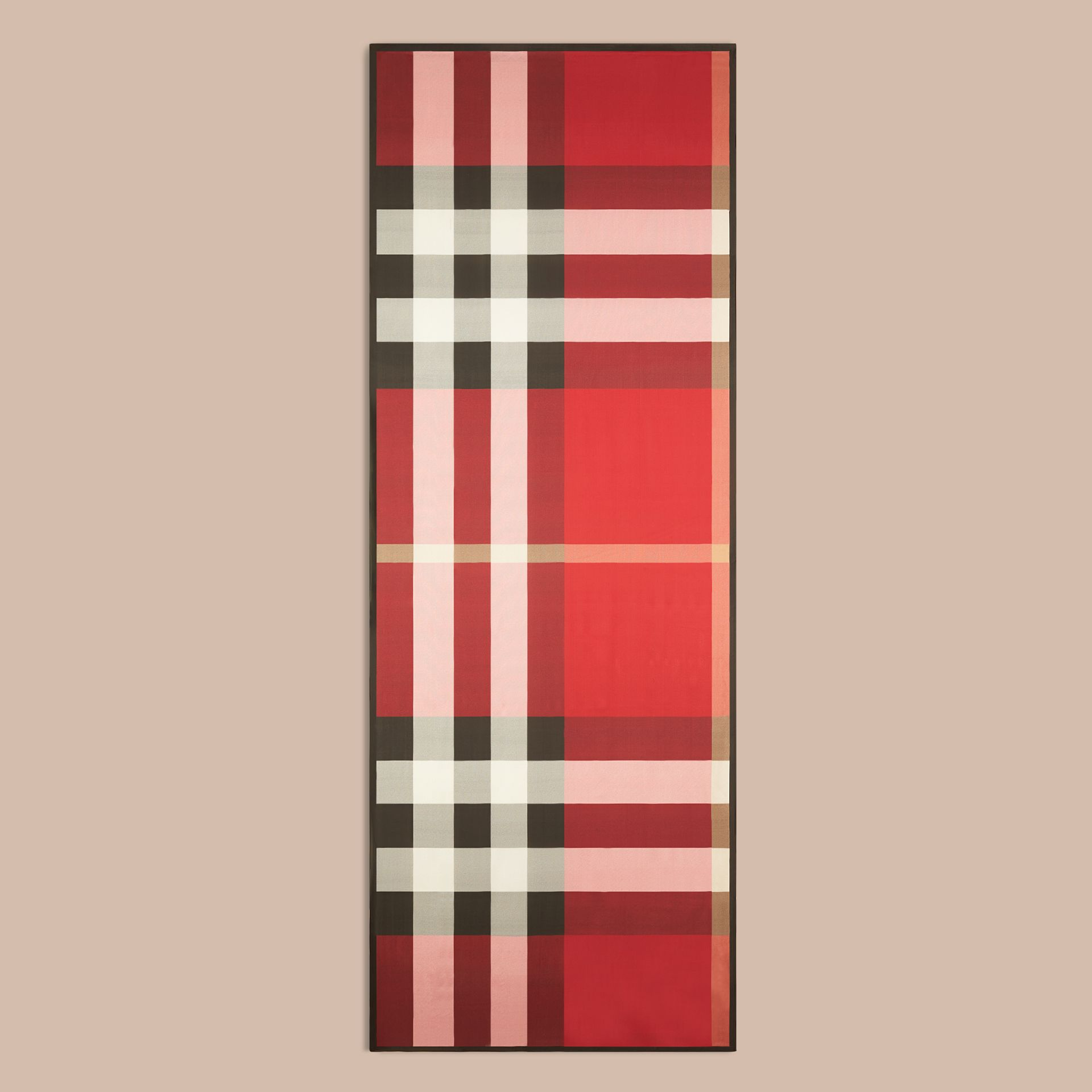 Lightweight Check Silk Scarf in Parade Red - gallery image 4