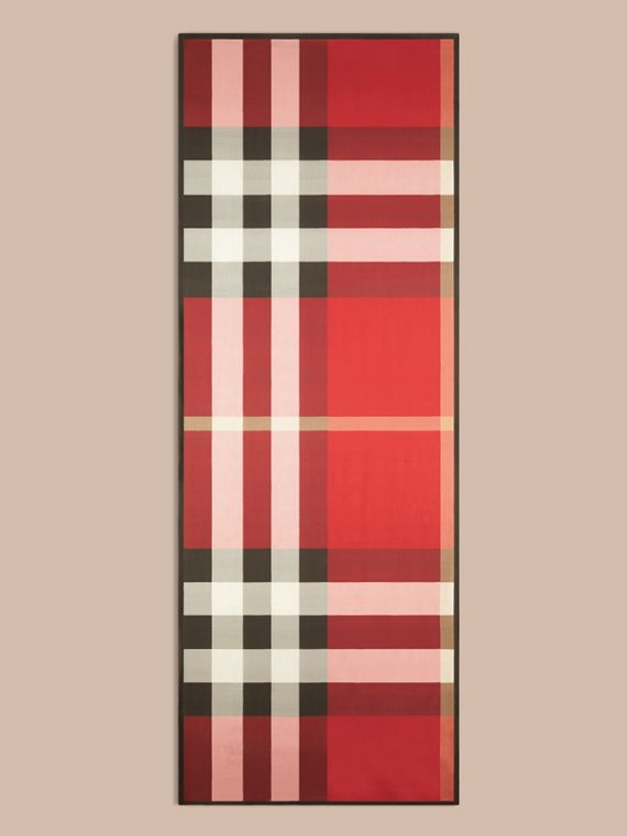 Lightweight Check Silk Scarf in Parade Red - cell image 3