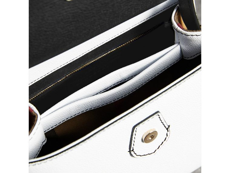 Small Two-tone Leather and House Check Tote in Chalk White/black - Women | Burberry - cell image 4
