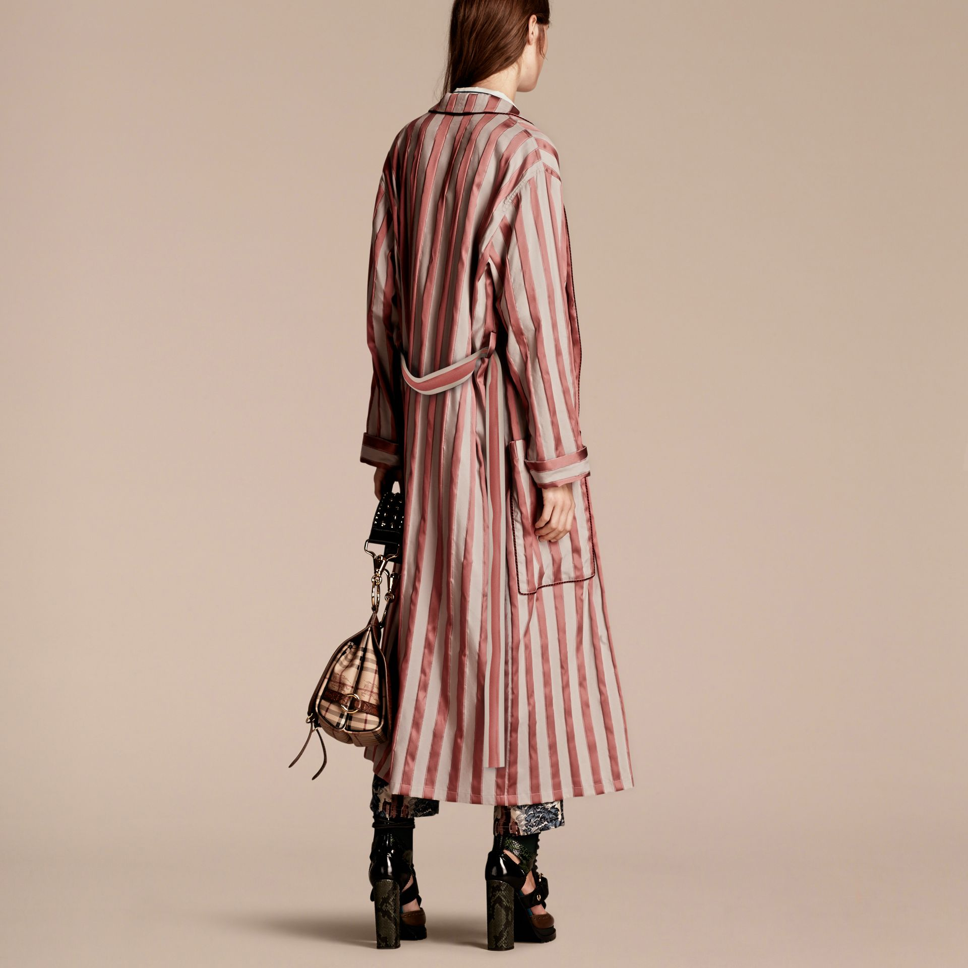 Antique blush Panama Stripe Cotton Silk Blend Dressing Gown Coat - gallery image 3