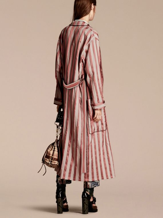 Antique blush Panama Stripe Cotton Silk Blend Dressing Gown Coat - cell image 2
