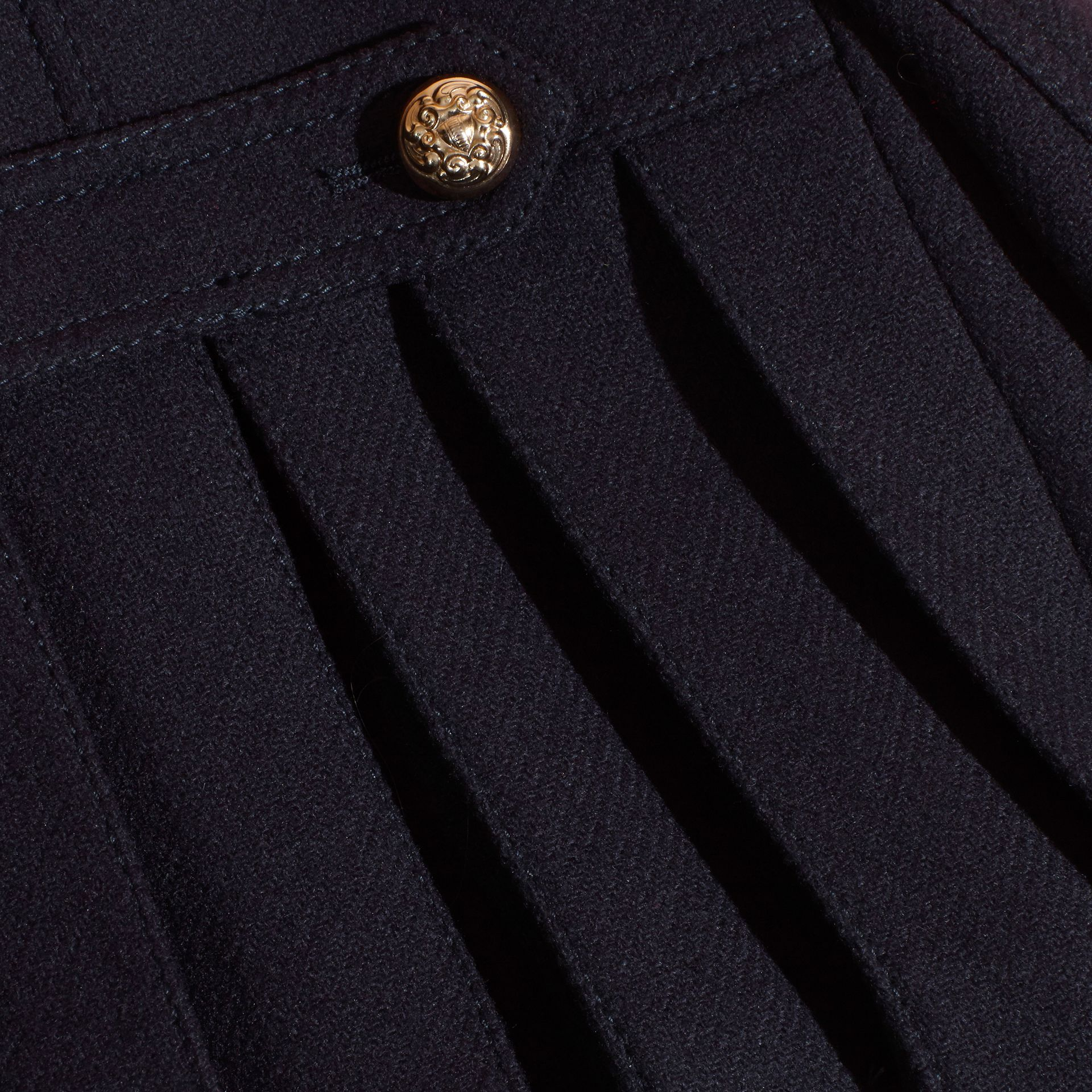 Navy Wool Cashmere Blend Pleat Detail Military Pea Coat - gallery image 2