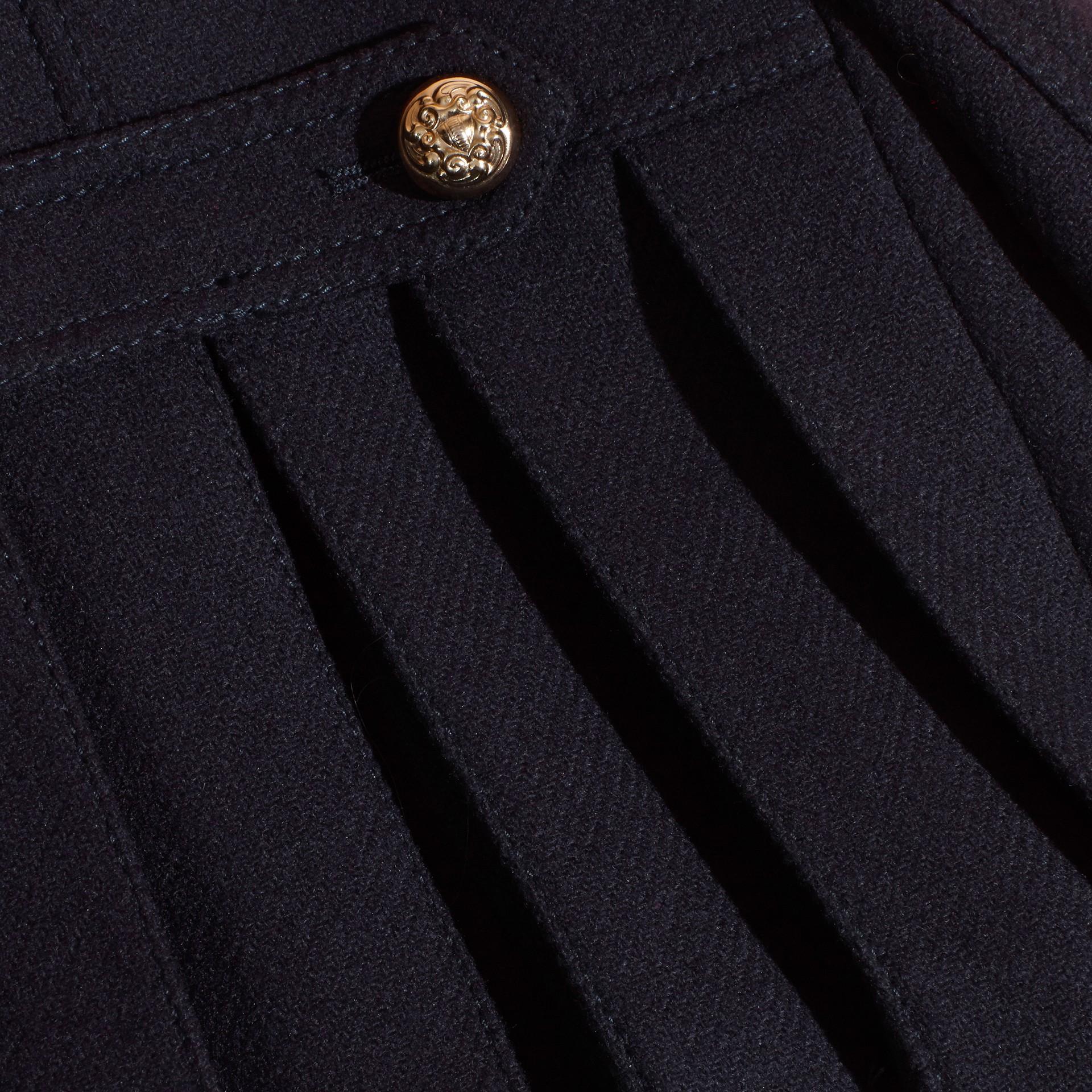 Azul marino Abrigo marinero militar en mezcla de lana y cachemir con detalles plisados - imagen de la galería 2