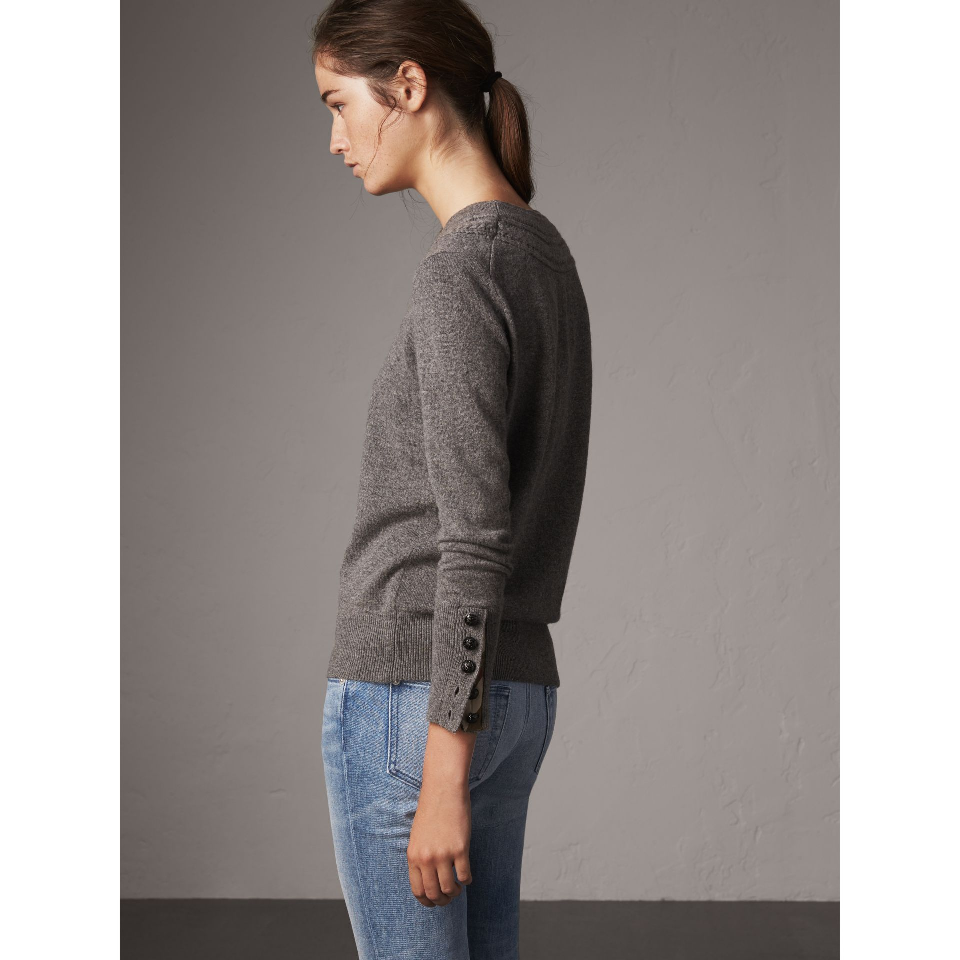 Cable Knit Yoke Cashmere Sweater in Mid Grey Melange - Women | Burberry - gallery image 3